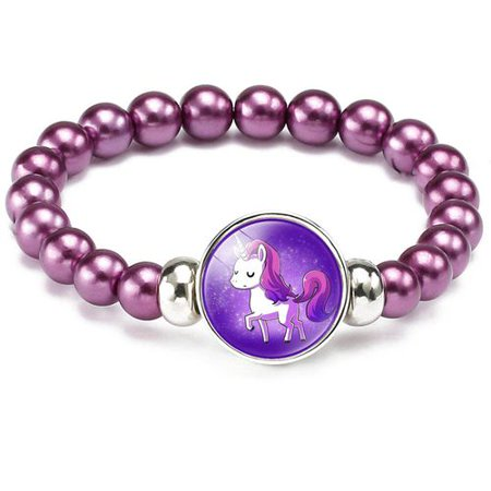 TURNTABLE LAB Colorful Unicorn Bracelet, Little Girl Animal Bracelets, Teens Kids Pendant Beaded Bracelet Girl Party Favor Pretend Play Bracelet