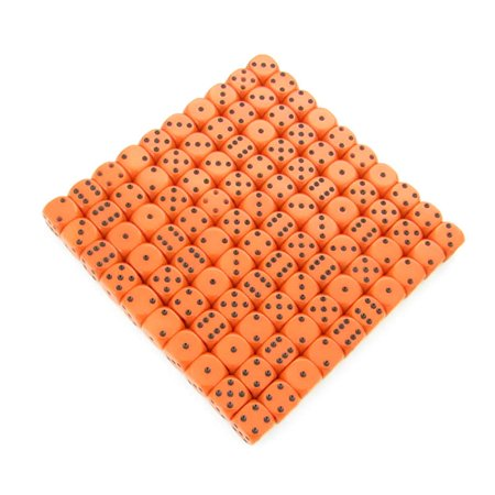 Bulk Dice (Orange Opaque Dice with Black Pips D6 12mm (1/2in) Bulk Pack of 100)