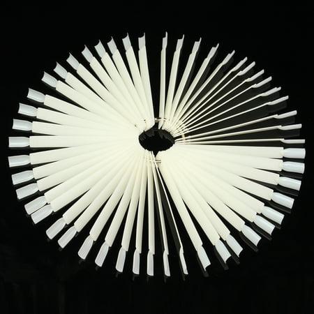 White Tip Halloween Nails (DANCINGNAL 50x Natural False Nail Art Tips Sticks Polish Display Fan Practice DIY Salon,white)