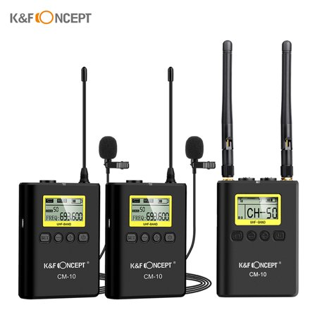 K&F CONCEPT Professional Wireless Video Recording Lavalier Lapel Microphone Mic System (2 Transmitter + 1 Receiver) UHF Dual-Channel Omni-directional Microphone for Canon Nikon Sony DSLR Camera