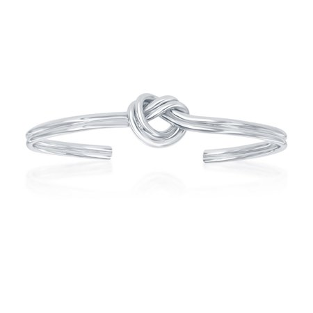 Sterling Silver Classy Italian Double Love Knot Bangle