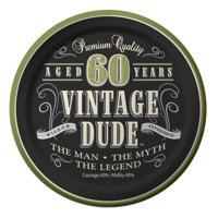 """Vintage Dude 60th Cake Plates 7"""" (8 Pack) - Party Supplies"""