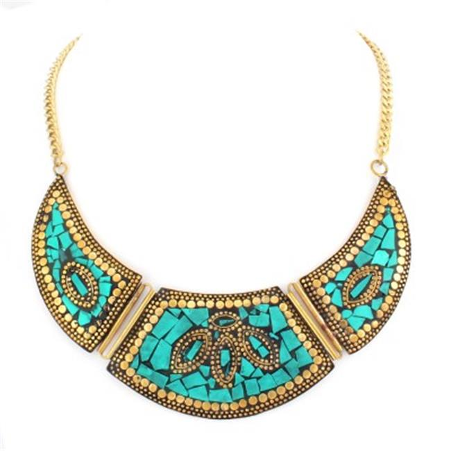 C Jewelry Turquoise And Gold Indian Bib Necklace