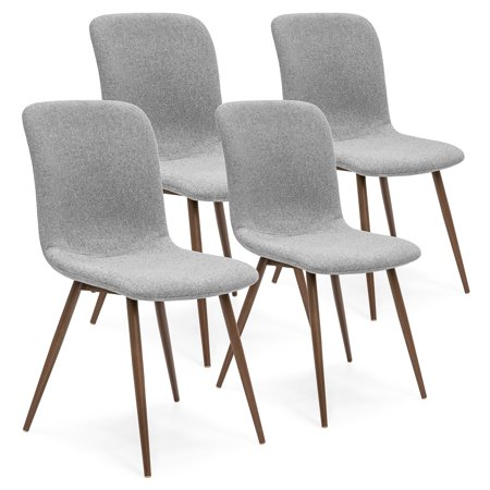 Best Choice Products Set of 4 Mid-Century Modern Dining Room Chairs w/ Fabric Upholstery and Metal Legs - Gray ()