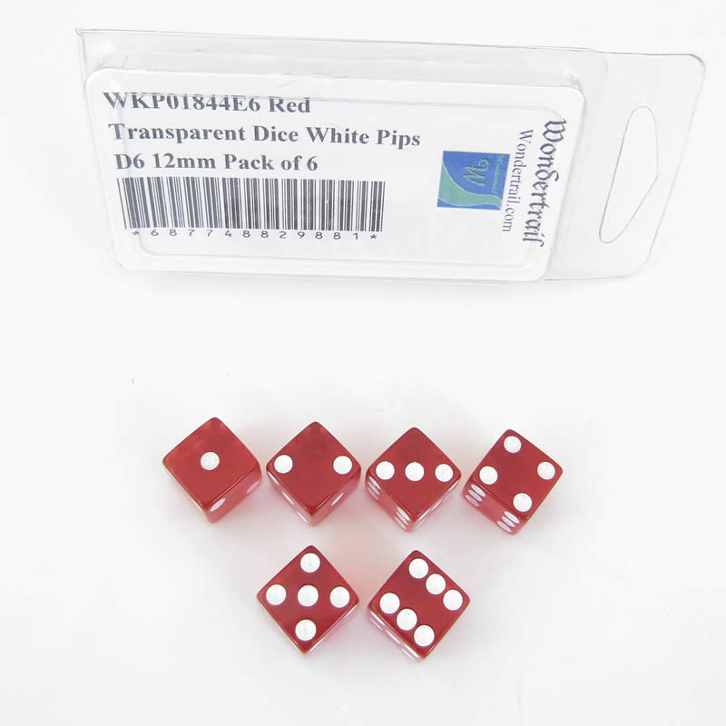 Red Transparent Dice with White Pips Square Corners D6 12mm (1/2in) Pack of 6 Wondertrail