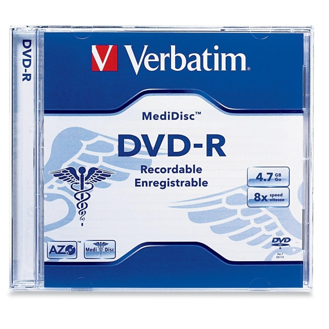 Verbatim MediDisc DVD-R 4.7GB 8X Thermal Printable Branded Surface - 1pk