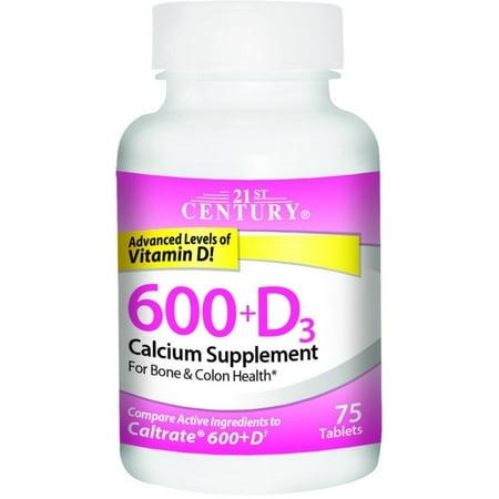 21 Century HealthCare 21st Century  Calcium 600+D3, 75 ea