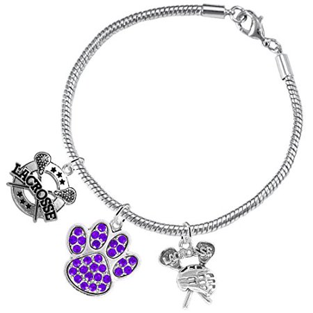 Lacrosse Jewelry,Purple Crystal Paw Jewelry, ©2015 Hypoallergenic Safe-Nickel, Lead And Cadmium Free! Lacrosse Jewelry Purple Crystal Paw Jewelry 2015