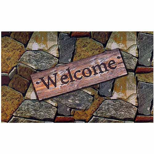Welcome Quarry Stones Outdoor Rubber Entrance Mat