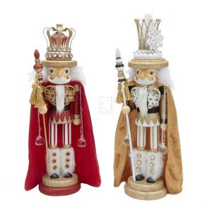 18 Inch 1 Set 2 Assorted Red and Gold Hollywood King Wooden Nutcrackers