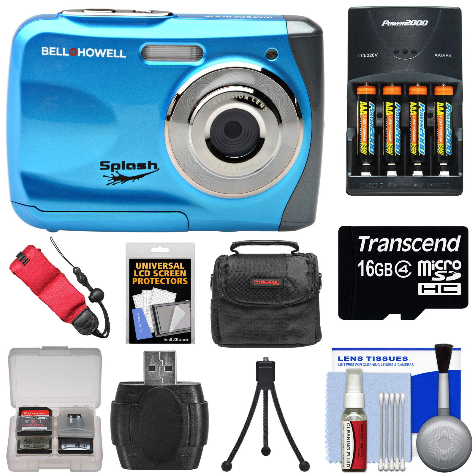 Bell & Howell Splash WP7 Waterproof Digital Camera (Black) with Batteries & Charger + 16GB Card + Case + Kit