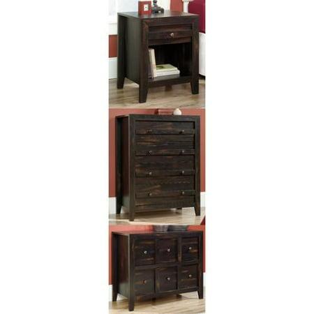Sauder Dakota Pass Char Pine Bedroom Set Night Stand Dresser Media Console