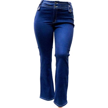 Passion Womens Plus Size Blue Denim Jeans Pants Curvy Stretch Relaxed Fit