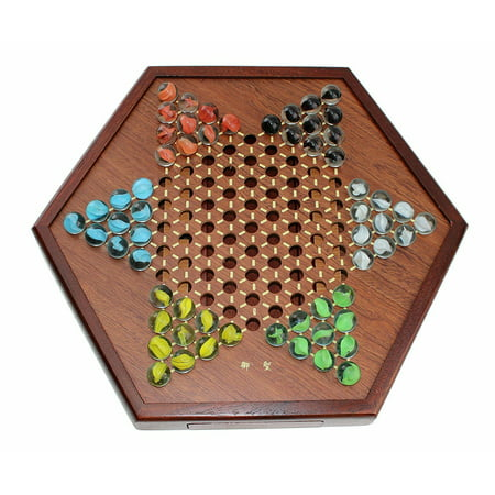 Wooden Chinese Checkers Board Game Set with Drawers and Marbles A0039 (Marble Game Board)