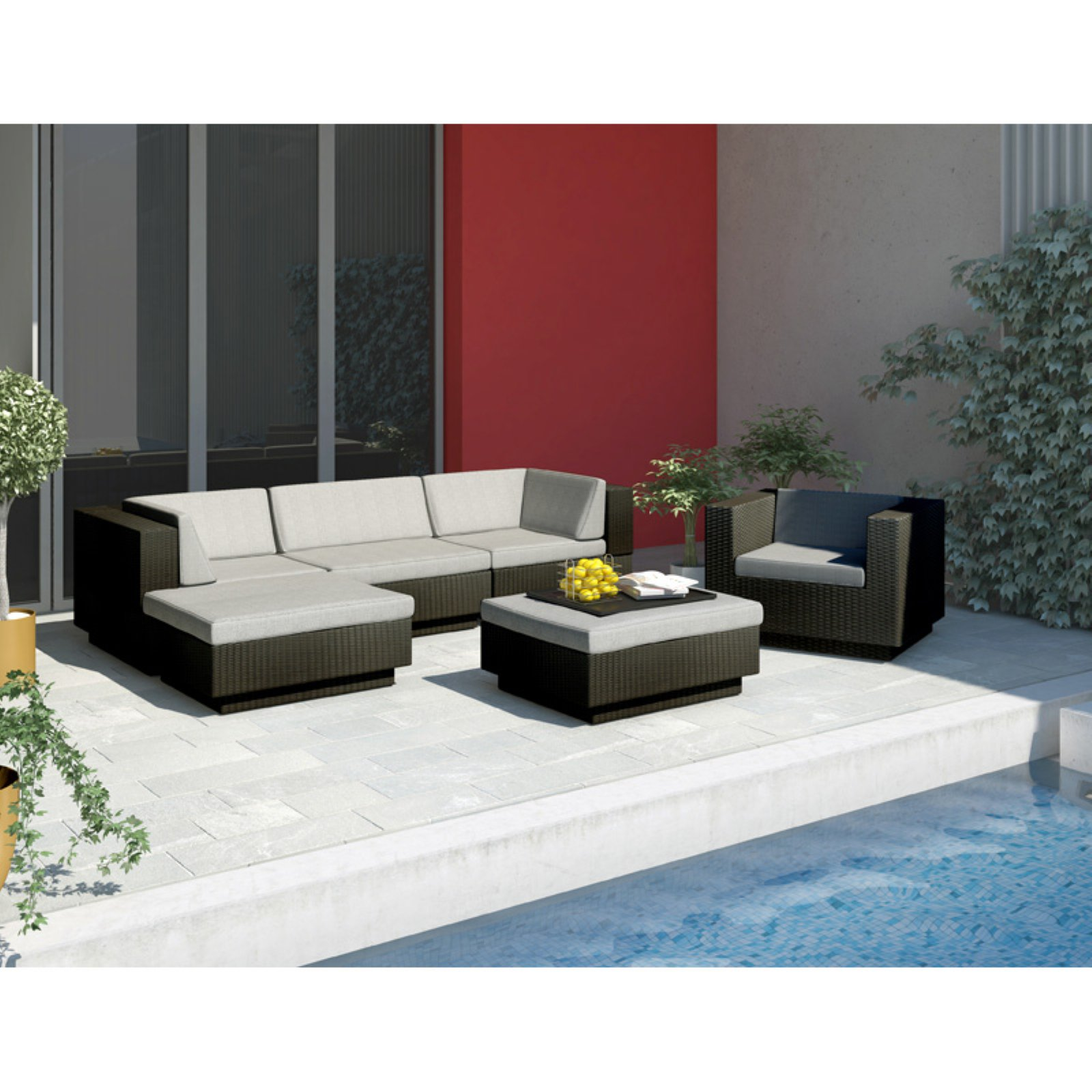 CorLiving Park Terrace Textured Black Sectional Patio Set - 6 piece