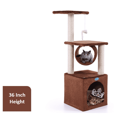 Jaxpety Deluxe Cat Tree Condo with Hanging Toy, 36