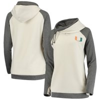 Miami Hurricanes Women's Chill Layered Quilted Jacquard Pullover Hoodie - Cream/Charcoal