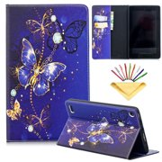 Dteck Flip Case For Amazon Kindle Fire 7 inch (5th/7th Generation, 2015/2017), PU Leather Case w/Butterfly Design, Built-in Card Slots/Money Pocket, Stand Protective Cover, Purple Butterfly