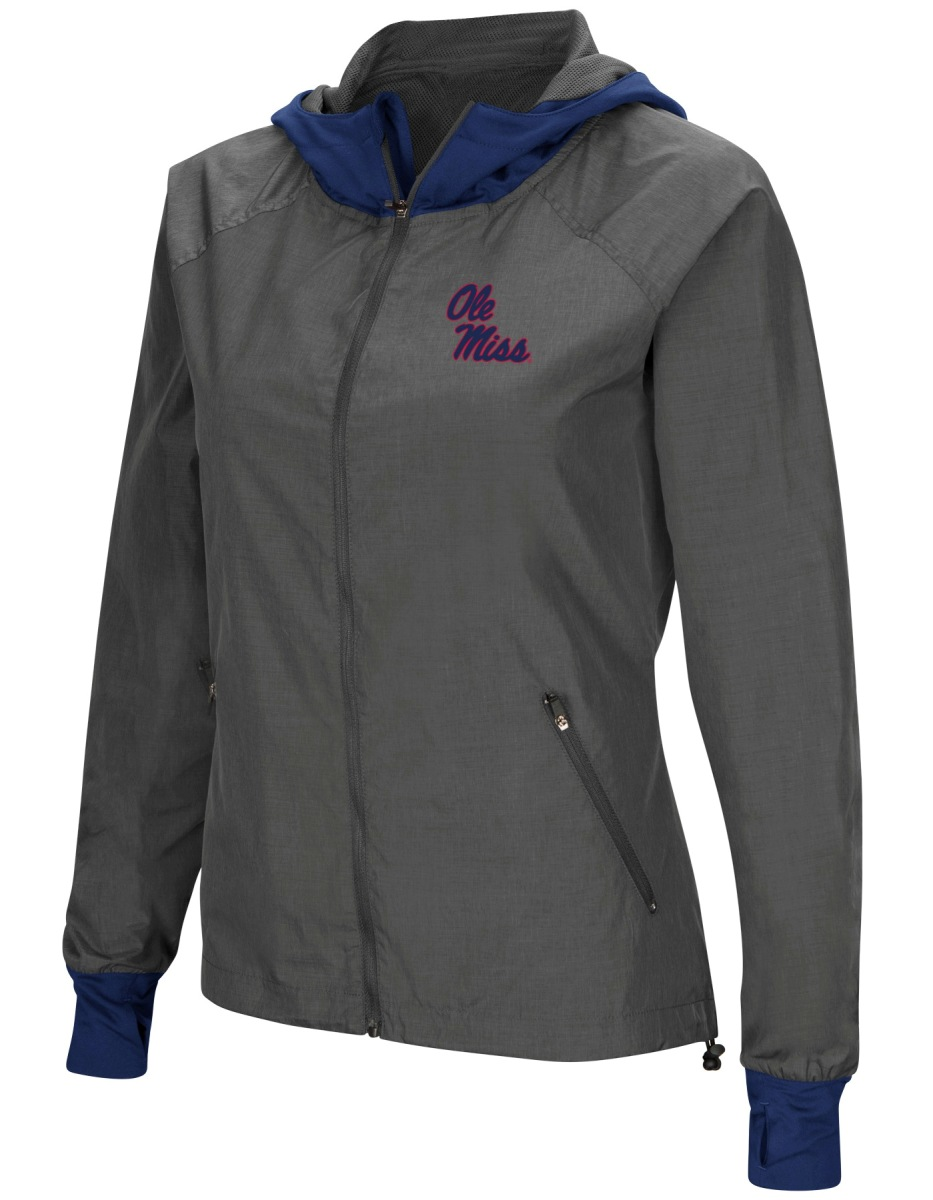 """Mississippi Ole Miss Rebels NCAA Women's """"Backside"""" F Zip Hooded Charcoal Jacket by Colosseum"""