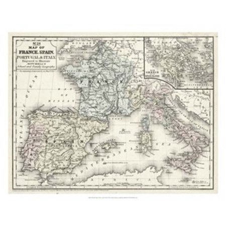 Map Of Spain Italy And France.Mitchells Map Of France Spain Italy Poster Print By Laura Mitchell 28 X 22