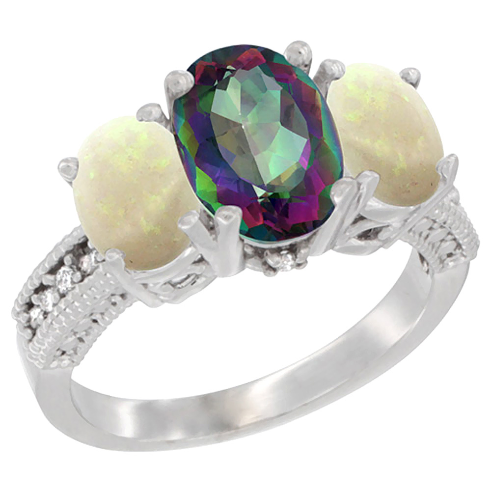 10K White Gold Diamond Natural Mystic Topaz Ring 3-Stone Oval 8x6mm with Opal, sizes5-10