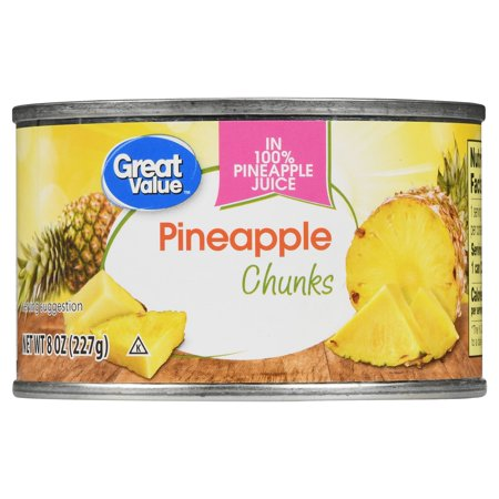 (6 Pack) Great Value Pineapple Chunks in 100% Juice, 8 oz