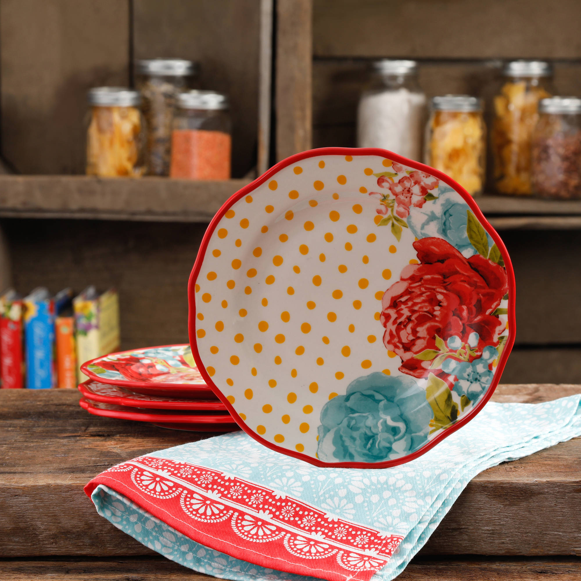 "The Pioneer Woman Blossom Jubilee 8.5"" Salad Plate Set, Set of 4"