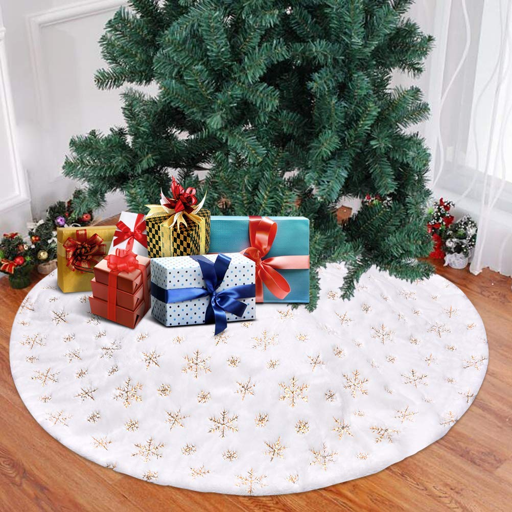 GLiving Christmas Tree Skirt Decorations - White Faux Fur ...