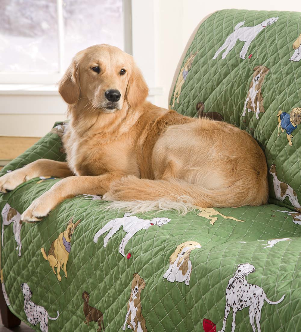 Pet Chair Cover in Bedtime Tails, Green by Plow & Hearth