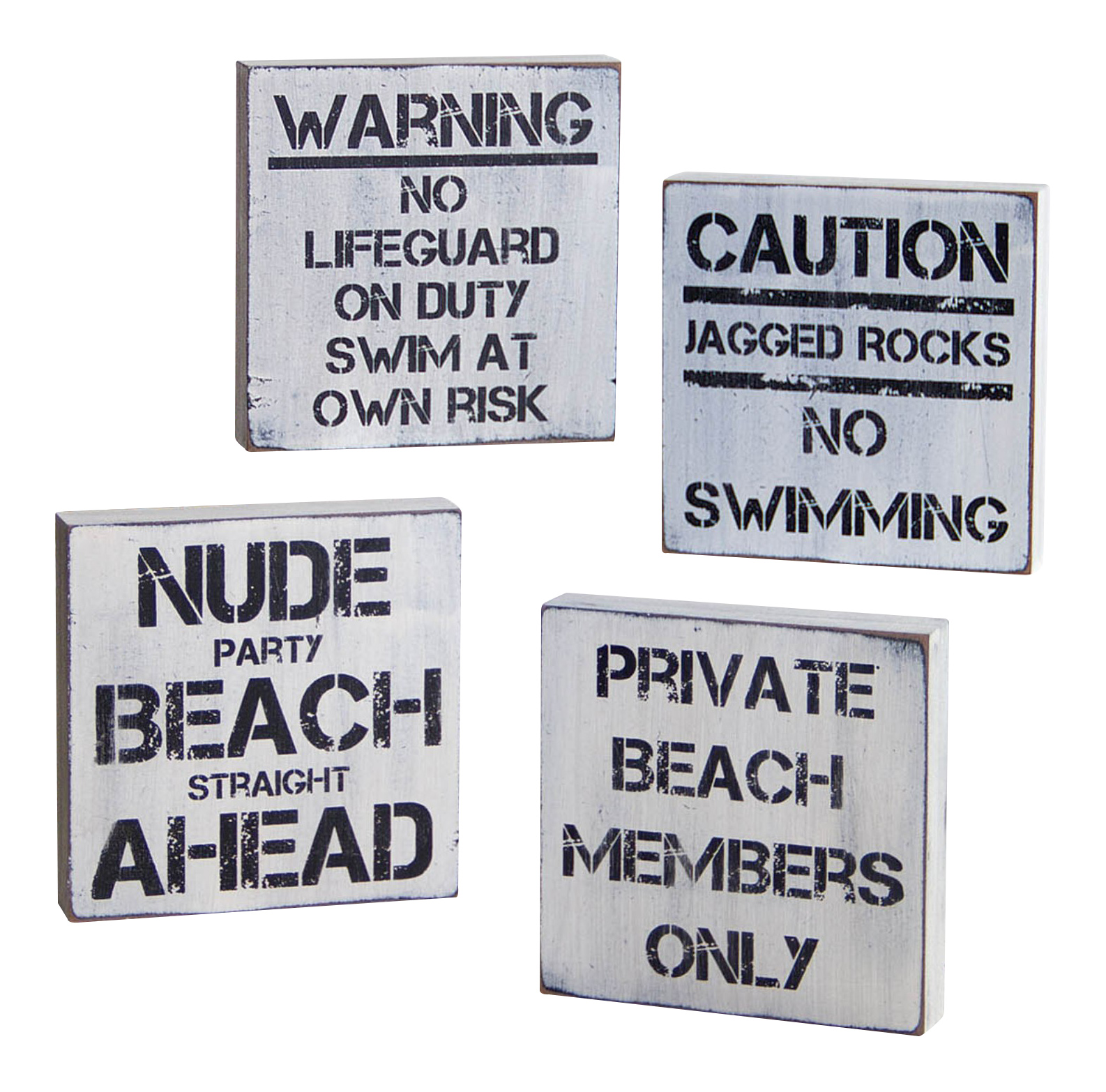 Weathered Wood Nude Beach Lifeguard Warning Signs Set of 4 Wall Tabletop Decor