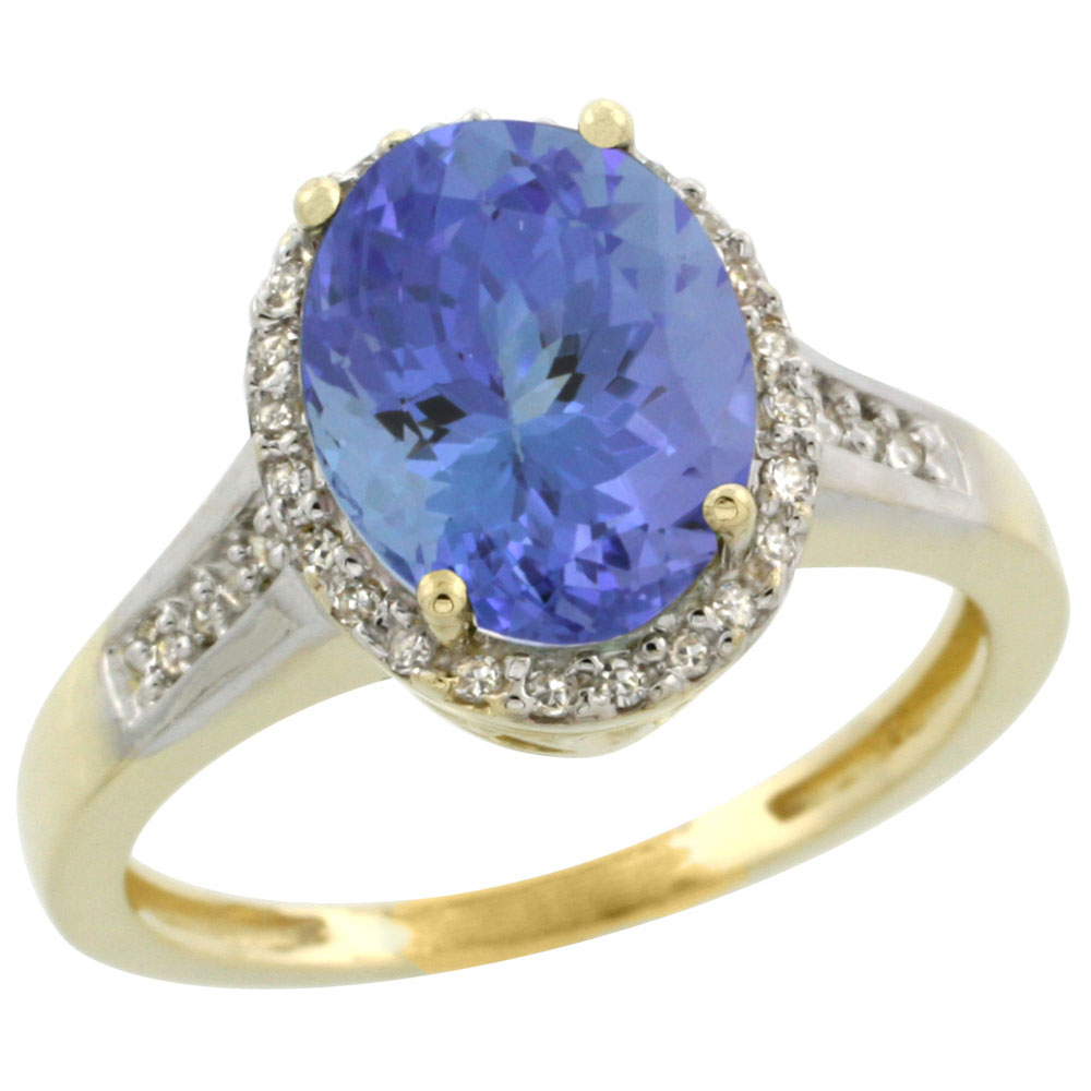 10K Yellow Gold Diamond Natural Tanzanite Engagement Ring Oval 10x8mm, size 5.5 by Gabriella Gold