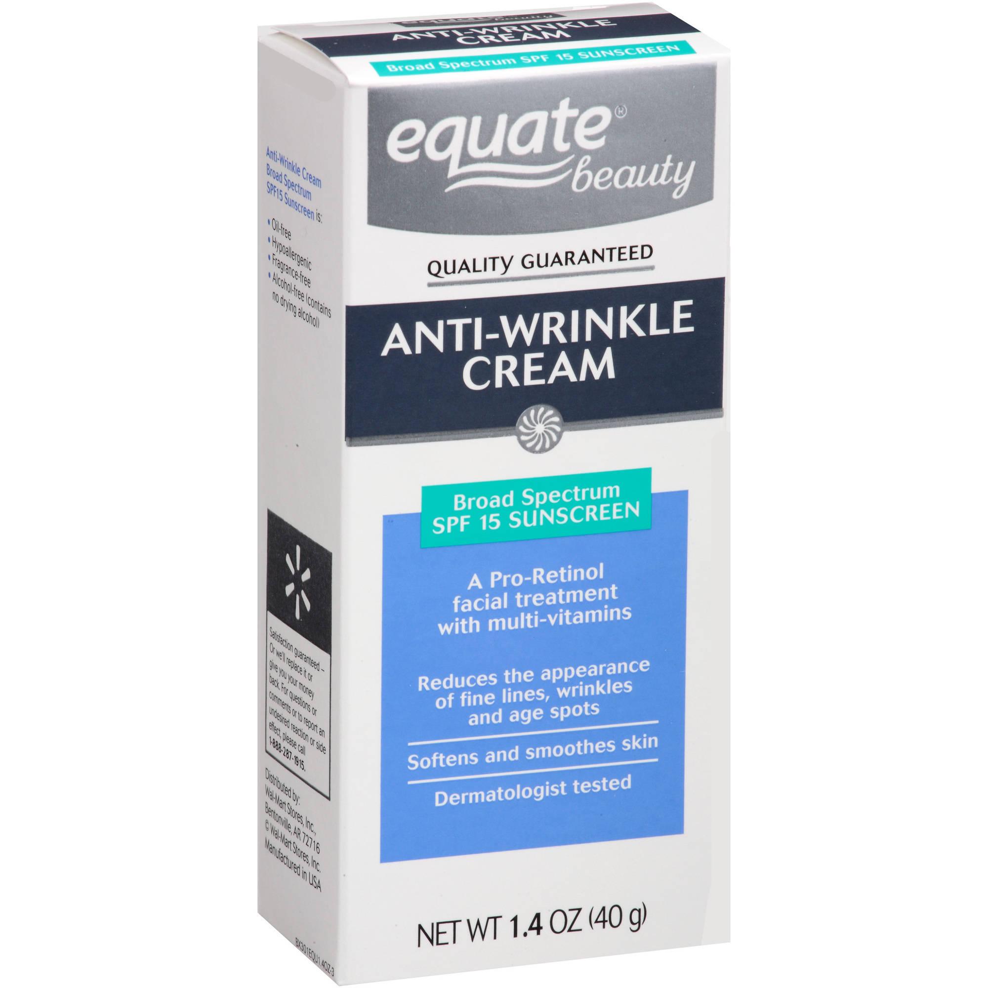 Equate Beauty Anti-Wrinkle Cream, SPF 15, 1.4 oz