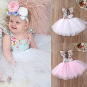 Christmas Fancy Kids Baby Girls Floral Dress Party Gown Formal Dresses Sundress