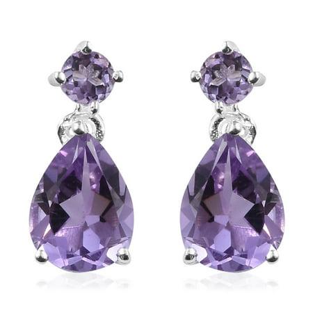 925 Sterling Silver Pear Amethyst Dangle Drop Earrings Gift Jewelry for Women Cttw 1.7