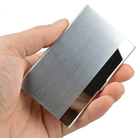 Walnut Business Card Holder (Pocket Stainless Steel & Metal Business Card Holder Case ID Credit Wallet Silver )