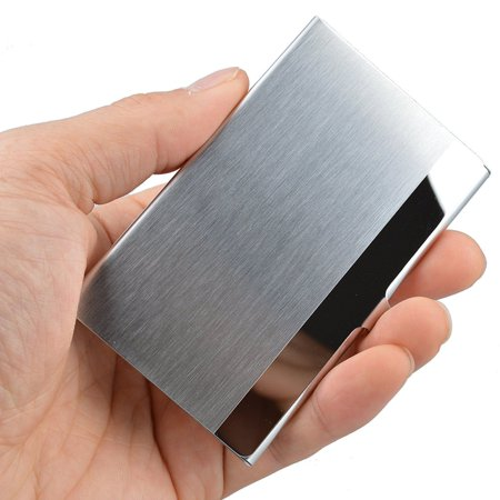 Metal Business Card Case Holder - Pocket Stainless Steel & Metal Business Card Holder Case ID Credit Wallet Silver