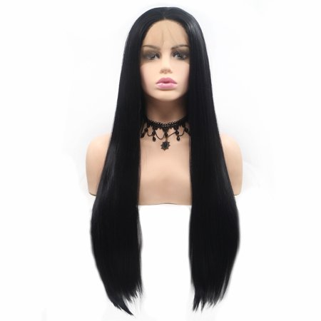 Beroyal Hair Lace Frontal Wig Straight Hair Heat Resistant Half Hand Tied Lace Frontal Synthetic Wigs Black Color, (Roma Lee Synthetic Hair Half Wig Sf Faith)