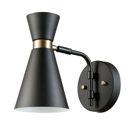 - Globe Electric Belmont 1-Light Black and Gold Wall Sconce, 65855