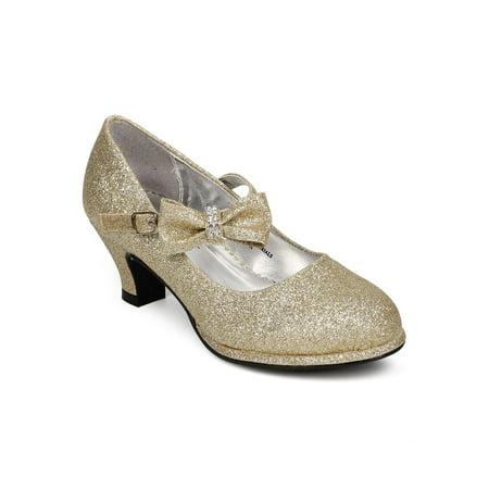 Avenue Mary Janes - Little Angel Tasha-685E New Glitter Bow Mary Jane Pump (Toddler/Little/Big Girl)