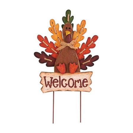 Celebrations 9438714 Wooden Welcome Turkey Yard Stake  Autumn - Halloween Wooden Yard Art
