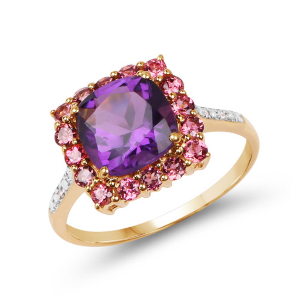 Genuine Cushion Amethyst, Pink Tourmaline and Diamond Ring in 10k Yellow Gold Size 6.00 by Bonyak Jewelry