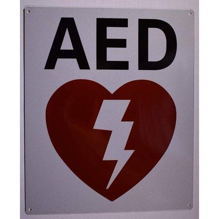 Automated External Defibrillator Sign (Reflective,White, Aluminium 10X12