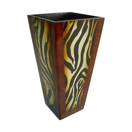 Wooden 12 In Tall Decorative Planter With Zebra Print Walmart