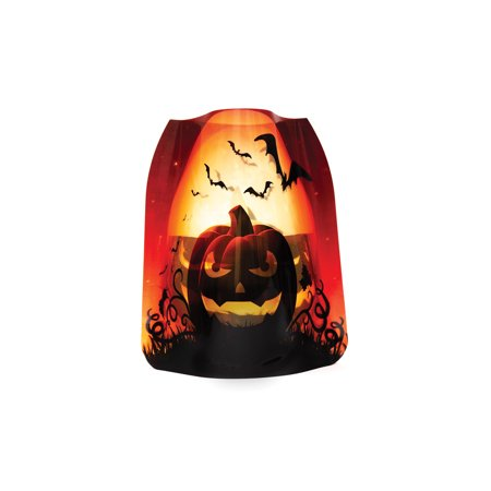 Modgy Holiday Expandable Luminary Halloween Lanterns - 4 Pack with Floating LED Candles - Jack O' Lantern (Halloween Luminaries)