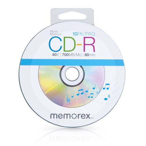 10 Memorex 40X Digital Audio Music CD-R 80min 700MB Spin Base (Logo on Top)