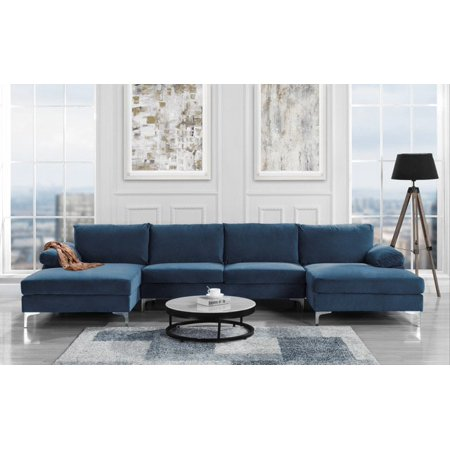 Modern Large Velvet Fabric U Shape Sectional Sofa Double