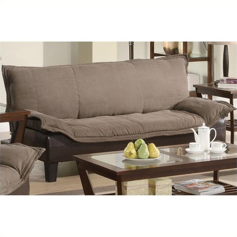 Bowery Hill Faux Leather Microfiber Convertible Sofa in B...