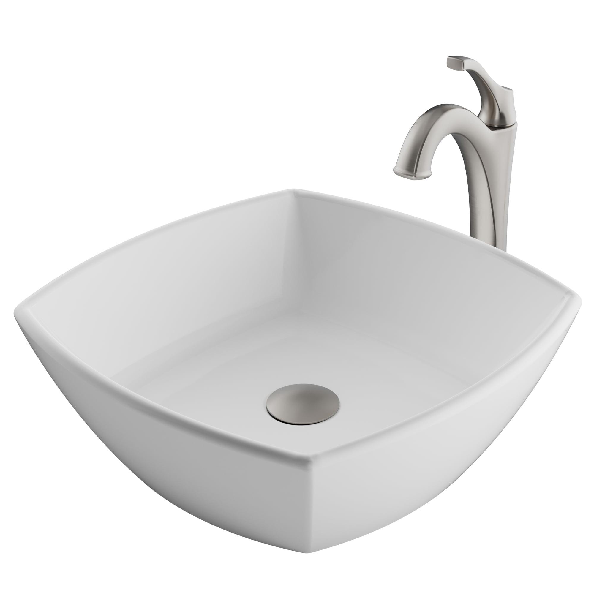 Kraus Elavo 16 1 2 Inch Square White Porcelain Ceramic Bathroom Vessel Sink And Spot Free Arlo