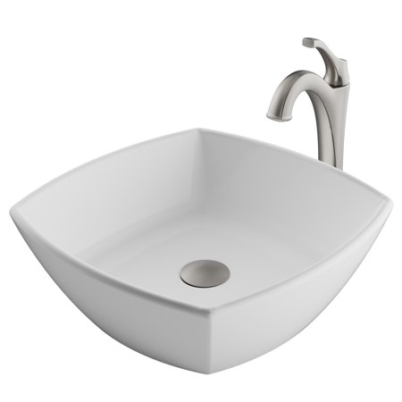 KRAUS Elavo™ 16 1/2-inch Square White Porcelain Ceramic Bathroom Vessel Sink and Spot Free Arlo™ Faucet Combo Set with Pop-Up Drain, Stainless Brushed Nickel Finish