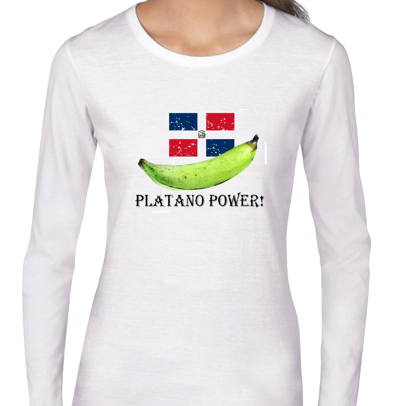 Platano Power - Dominican Republic Flag with Plantain Women's Long Sleeve T-Shirt